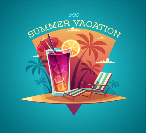 2015 Summer Vacation Poster Vintage Vector 04
