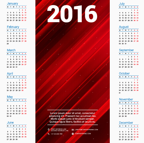 2016 company calendar creative design vector 08 free download