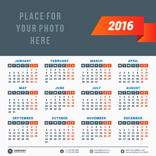 Corporate Calendar Design 2016 : Company calendar creative design vector