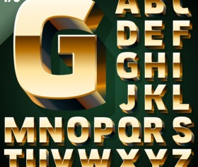 3D gold alphabet vector graphic
