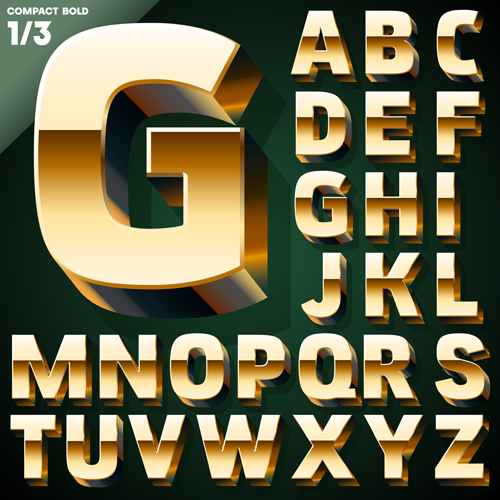 3D gold alphabet vector graphic free download