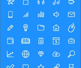40 kind line living icon set