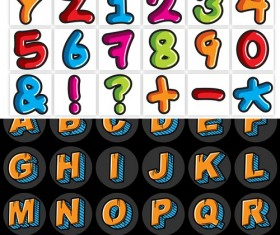 Alphabet and numbers graffiti vector