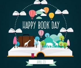April 23 happy book day vector design 01