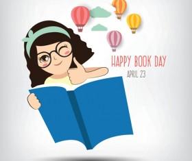 April 23 happy book day vector design 02