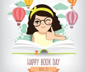 April 23 happy book day vector design 04