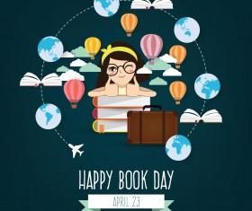 April 23 happy book day vector design 05