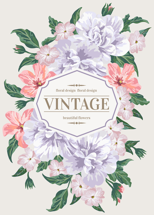 Beautiful flowers with vintage card vectors 01 - Vector ...