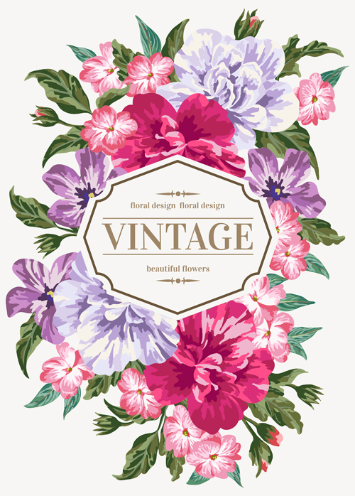 Beautiful flowers with vintage card vectors 02 free download