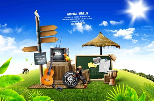 Beautiful natural with animal world psd background