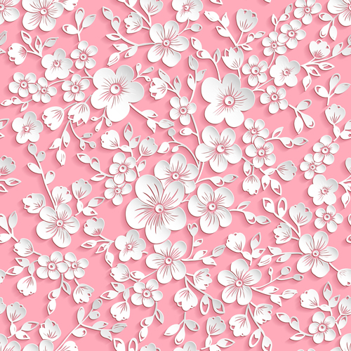 beautiful paper flower seamless pattern vector 01 vector