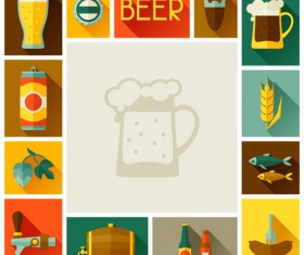 Beer elements flat icons vector set 01