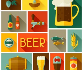 Beer elements flat icons vector set 02