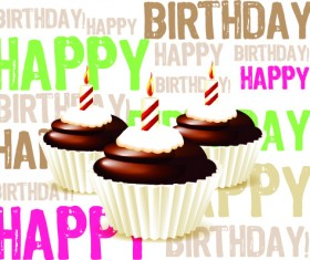 Birthday cakes and candles vector set 02
