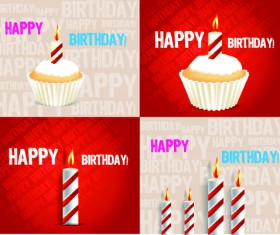 Birthday cakes and candles vector set 04