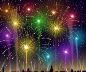 Brilliant holiday fireworks vectors set 04