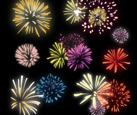 Brilliant holiday fireworks vectors set 05