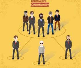Businessmen work concept template vector 05