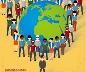 Businessmen work concept template vector 07