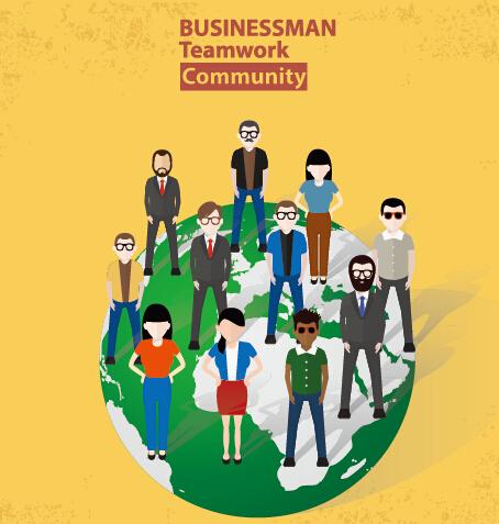 Businessmen work concept template vector 10