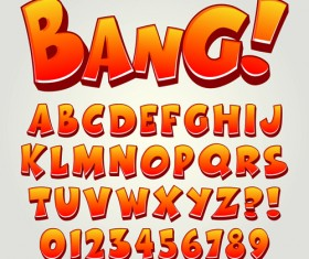 Cartoon bang alphabet with numbers vector