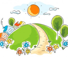 Cartoon landscape hand drawn vectors 04