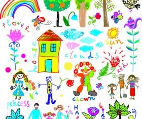 Children paintings hand drawn vector