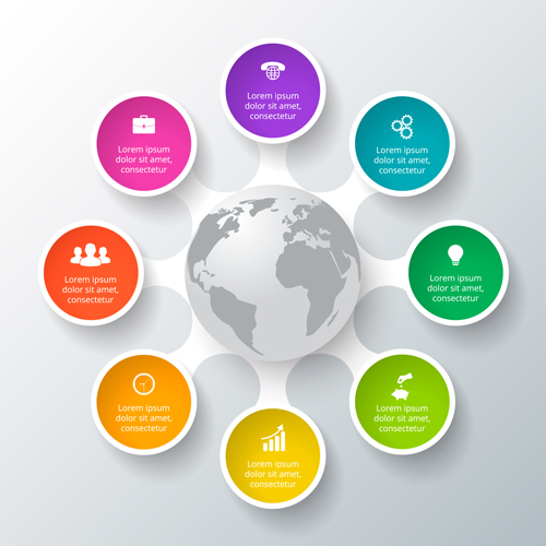 Circle business infographic creative vector 03