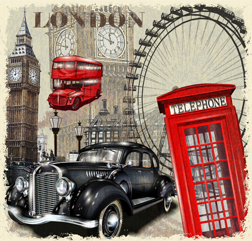 classic cars and travel vintage poster vector 02 free download