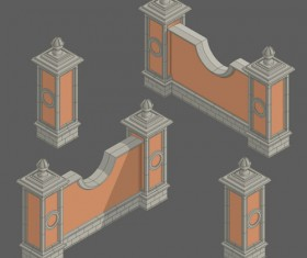 Classical styles wall vector material