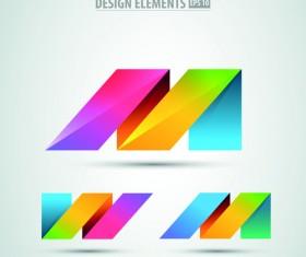 Colored origami design elements vector 04