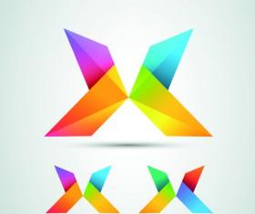 Colored origami design elements vector 05
