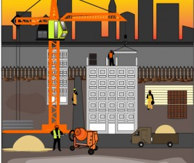 Construction site vector template