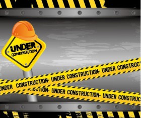 Construction warning sign vectors background 03