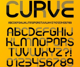 Creative curve alphabet with number vector