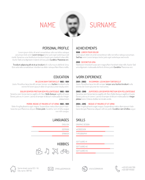 Creative Resume Template Design Vectors 01 - Vector Business Free