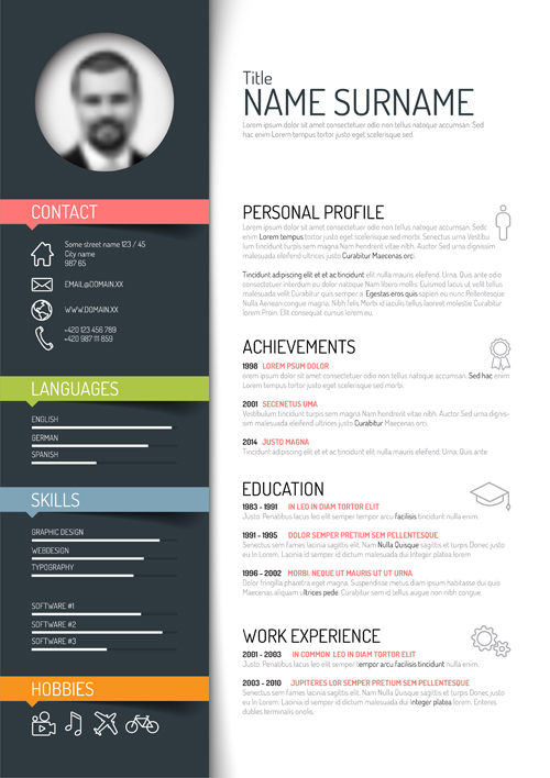 Creative resume template design vectors 02 vector business free creative resume template design vectors 02 yelopaper Images