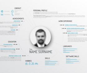 Creative resume template design vectors 03