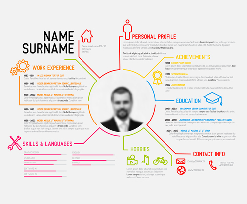 Wonderful Creative Resume Template Design Vectors 04  Creative Resume Templates Free Download
