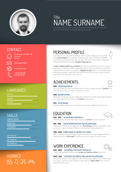 Great Creative Resume Template Design Vectors 05 And Free Unique Resume Templates