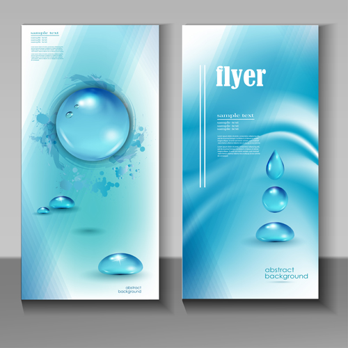 Creative water flyer cover vector material 04 vector for Water brochure template