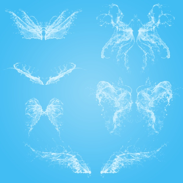 Creative water wings photoshop brushes