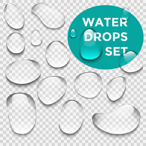 Crystal clear water drops vector illustration 01