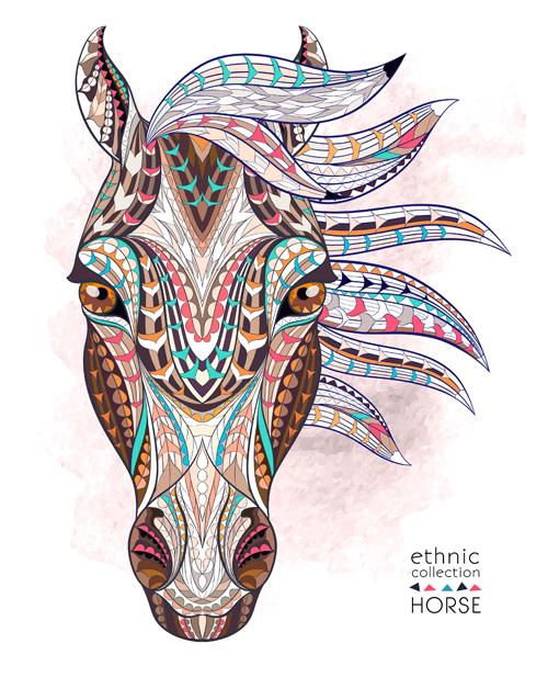 Ethnic Pattern Horse Vector