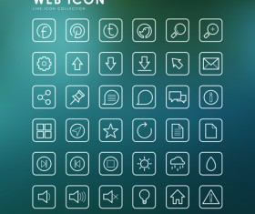 Excellent web outline icons vectors 01