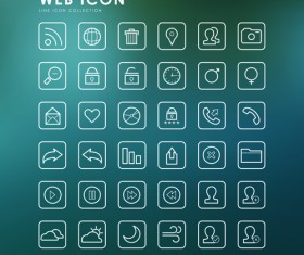 Excellent web outline icons vectors 03