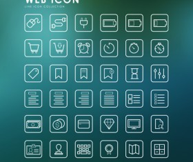 Excellent web outline icons vectors 04