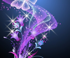 Fantasy butterflies with background vector graphics 01