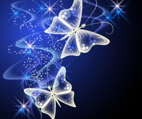 Fantasy butterflies with background vector graphics 02