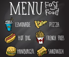 Fast food menu hand drawn vector 04
